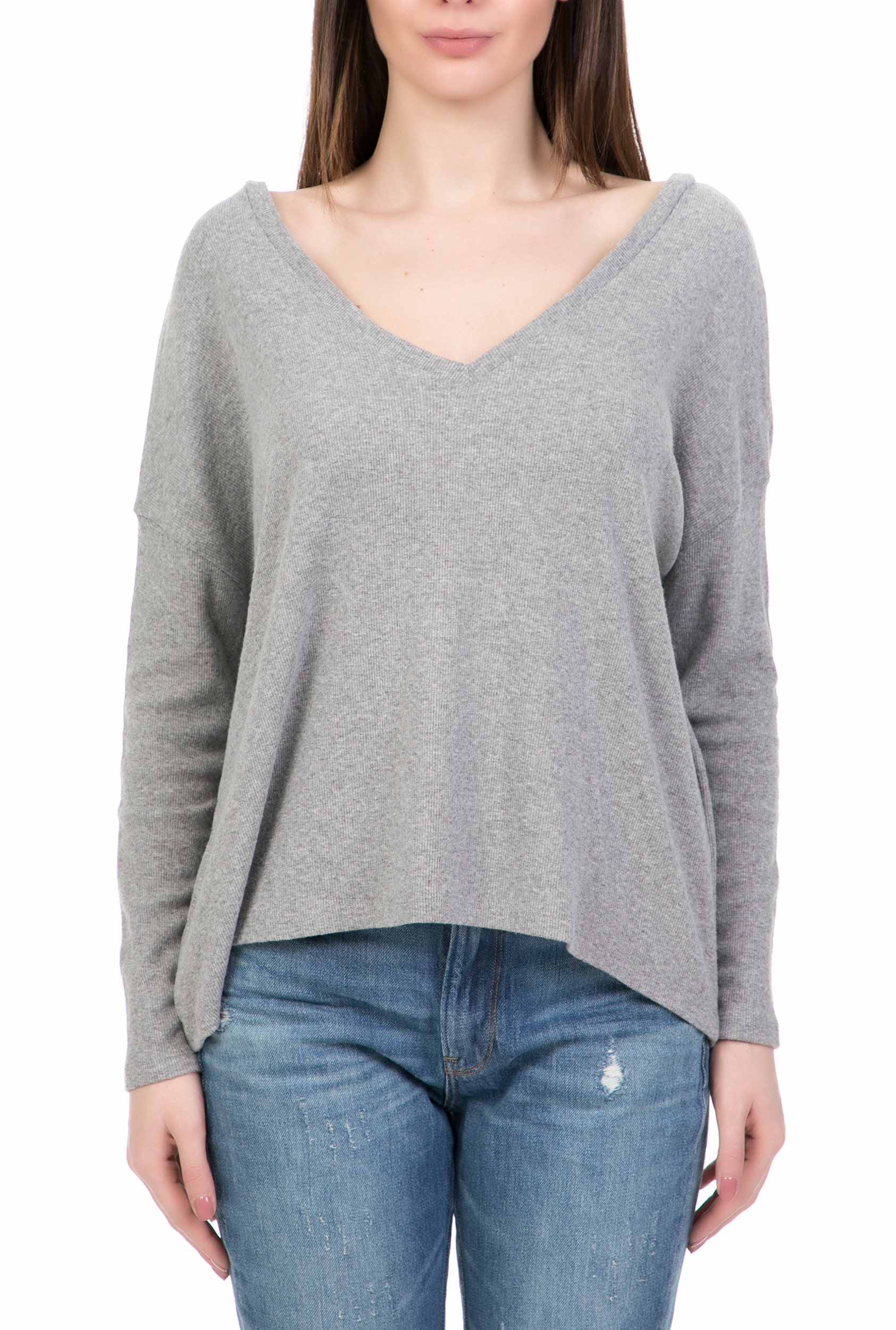 0bc6521c84f4 AMERICAN VINTAGE - Γυναικεία μακρυμάνικη μπλούζα AMERICAN VINTAGE γκρι
