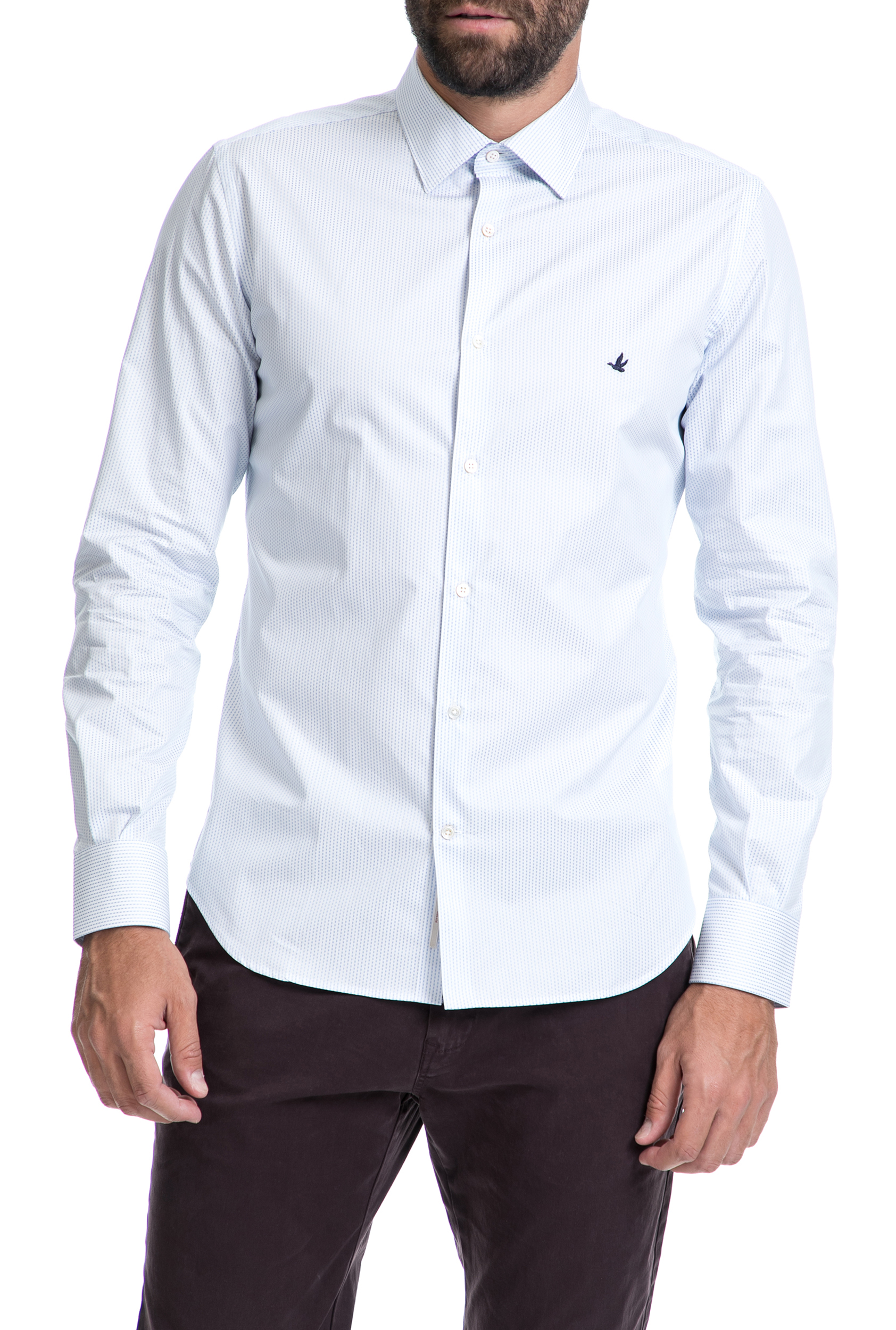 4bf3ff66a321 CollectiveOnline BROOKSFIELD - Αντρικό πουκάμισο BROOKSFIELD άσπρο-μπλε