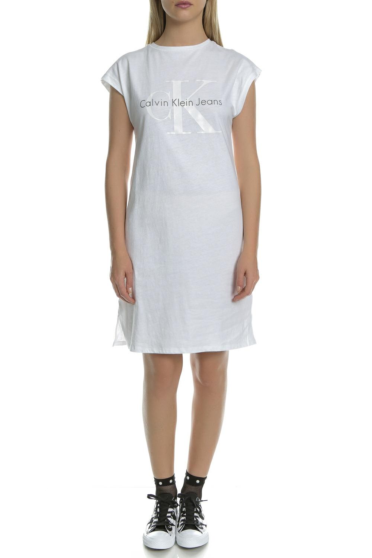 0645daa13d64 CollectiveOnline CALVIN KLEIN JEANS - Γυναικείο μίνι φόρεμα Calvin Klein  Jeans λευκό