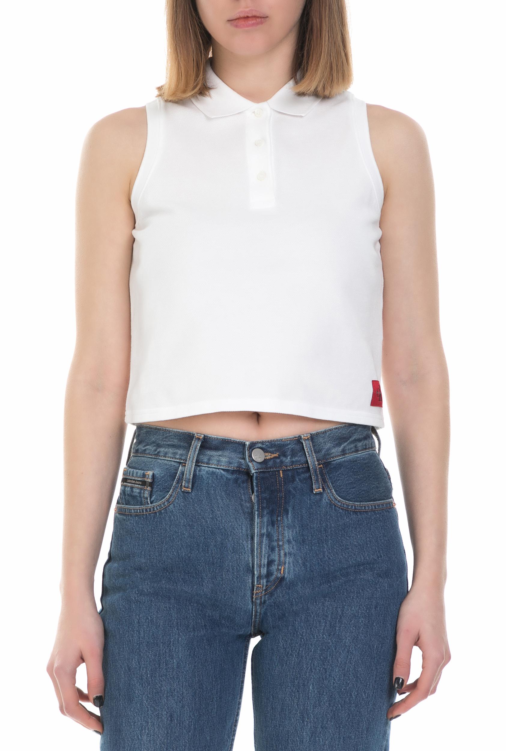 b494ae403efe CALVIN KLEIN JEANS - Γυναικεία αμάνικη polo μπλούζα Calvin Klein Jeans λευκή