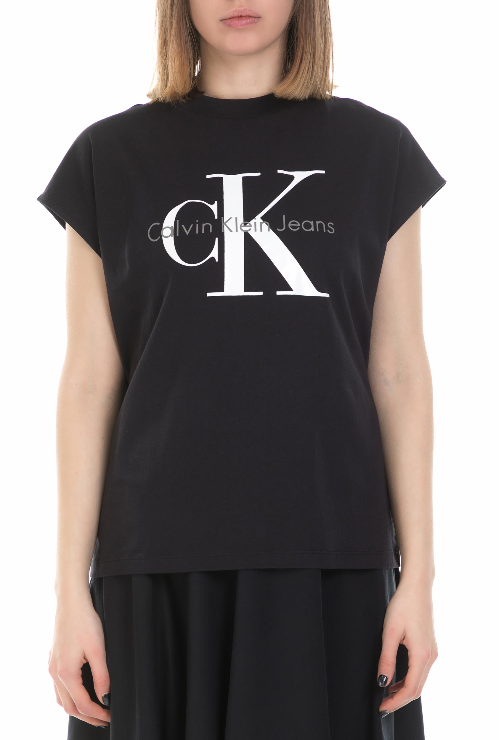 57c2f5f5b817 CALVIN KLEIN JEANS - Γυναικεία κοντομάνικη μπλούζα Calvin Klein Jeans μαύρη