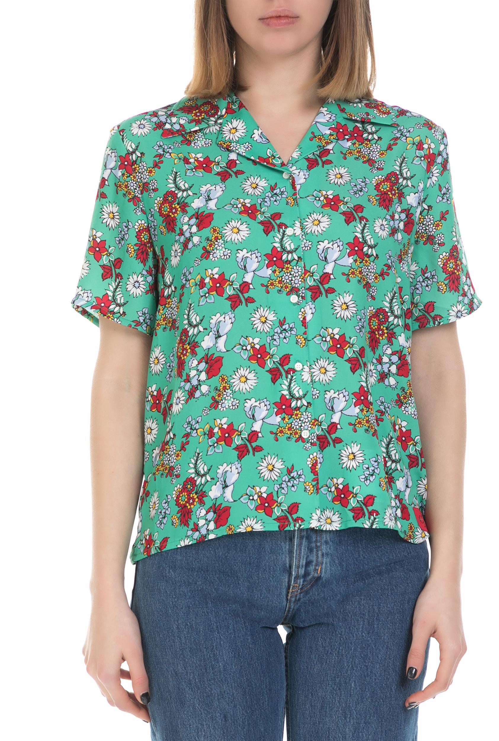 CALVIN KLEIN JEANS - Γυναικείο φλοράλ πουκάμισο Calvin Klein Jeans πράσινο