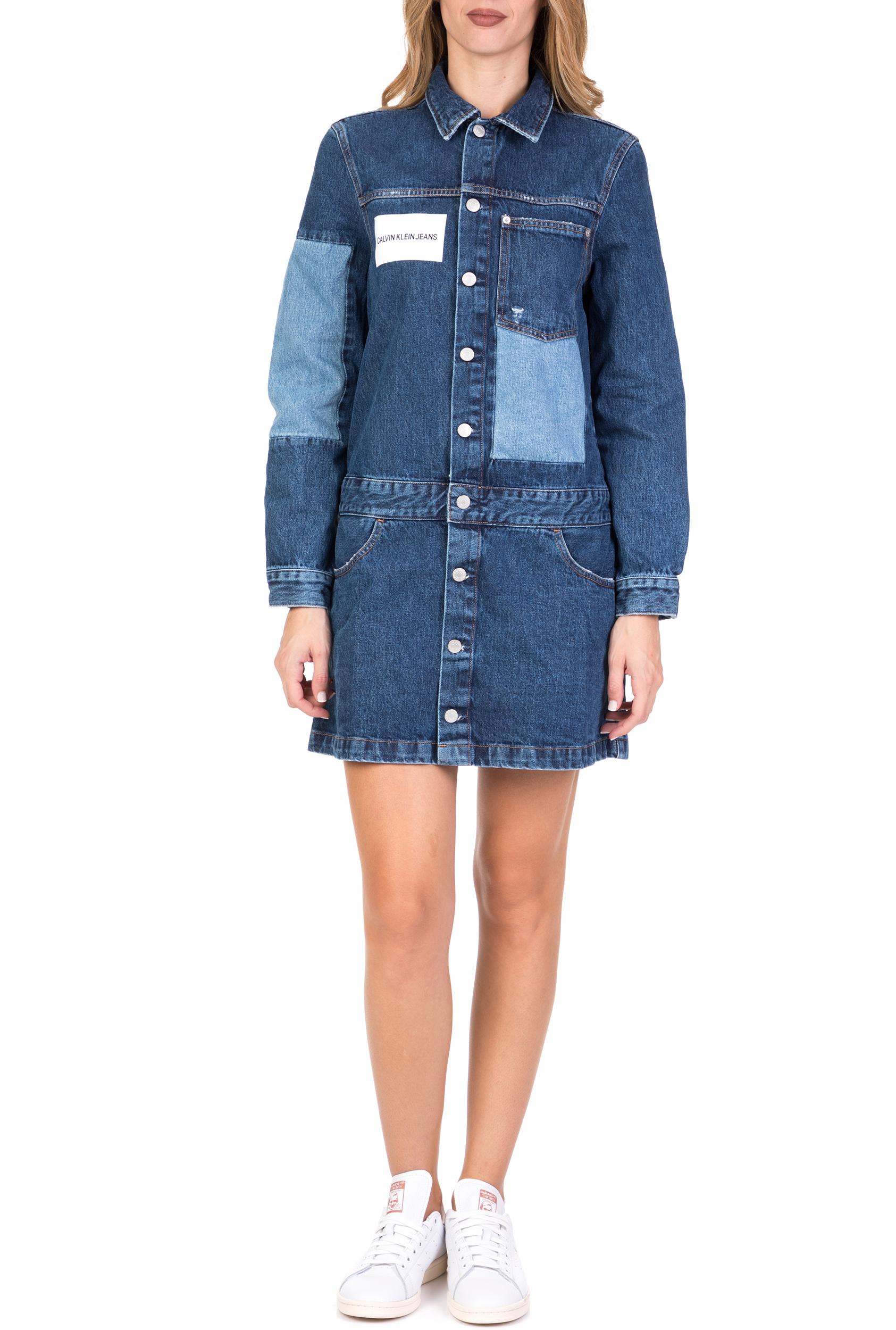 CALVIN KLEIN JEANS - Γυναικείο ντένιμ φόρεμα ONE POCKET TRUCKER μπλε γυναικεία ρούχα φόρεματα μίνι