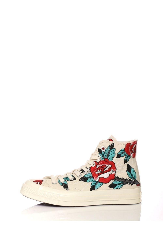 CONVERSE – Γυναικεία sneakers CONVERSE QS CTAS '70 EMBROIDERE ROSE HI μπεζ με κέντημα