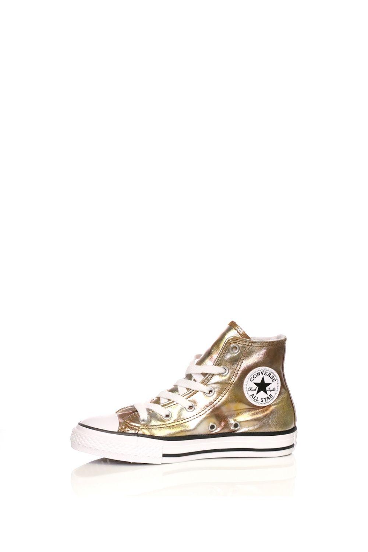 CONVERSE – Παιδικά ψηλά sneakers CONVERSE Chuck Taylor All Star Hi χρυσά μεταλλικά