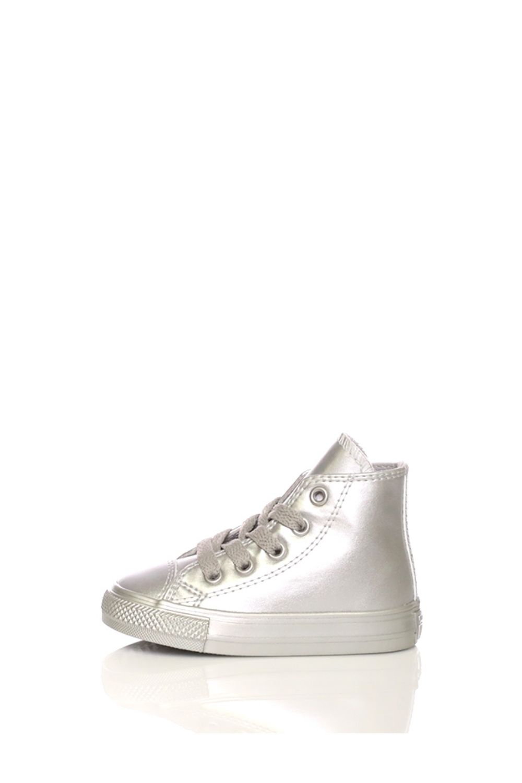 CONVERSE – Βρεφικά ψηλά sneakers CONVERSE Chuck Taylor All Star Hi ασημί