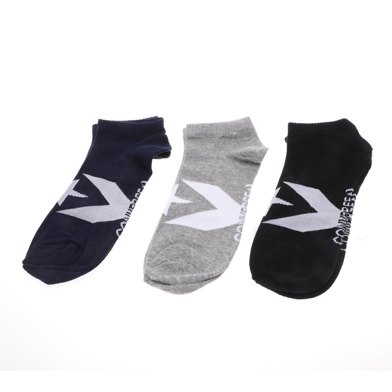 CONVERSE - Ανδρικές κάλτσες σετ των 3 CONVERSE Boom Star γκρι μπλε μαύρες