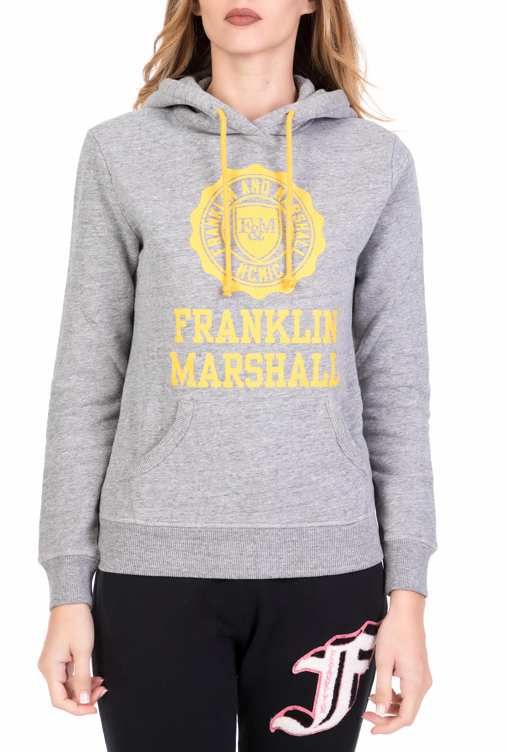 be8cc96a0353 FRANKLIN   MARSHALL - Γυναικεία φούτερ μπλούζα με κουκούλα FRANKLIN   MARSHALL  γκρι