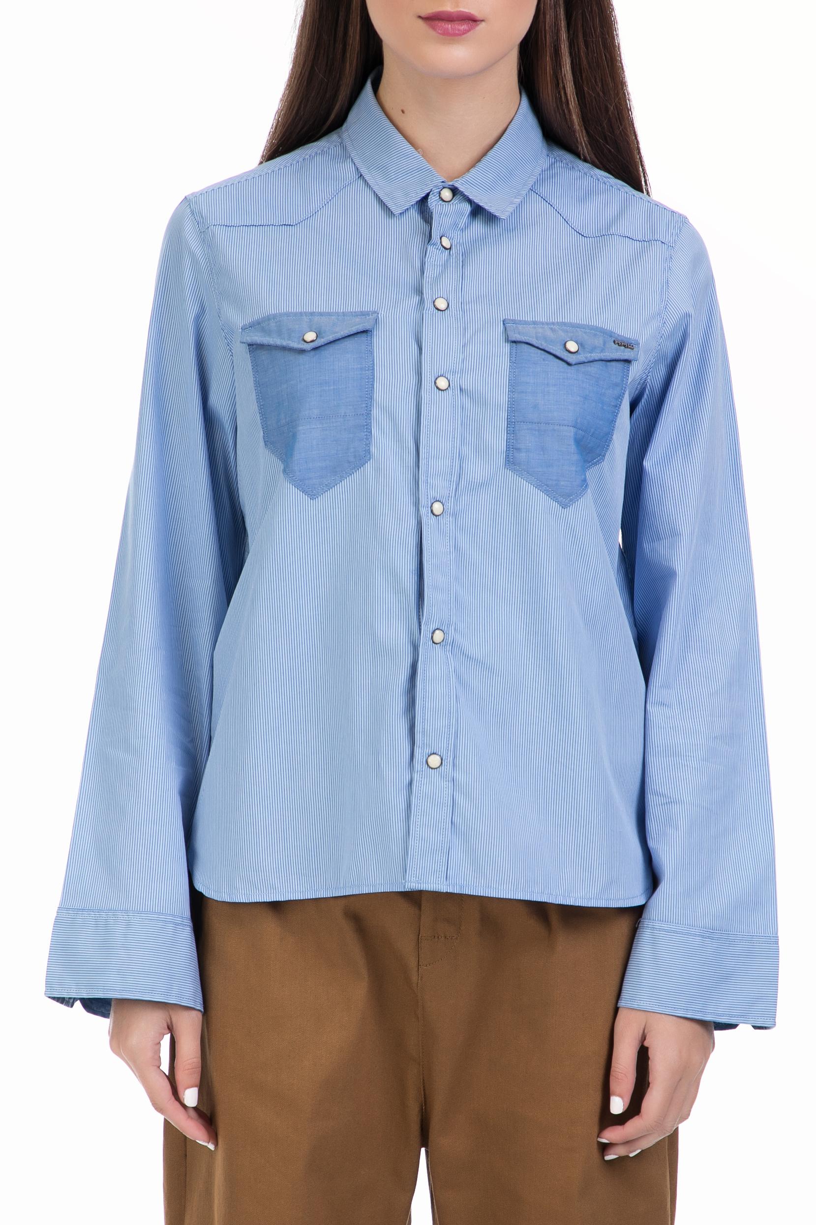 G-STAR RAW - Γυναικείο πουκάμισο Tacoma wide slv bf croppe μπλε