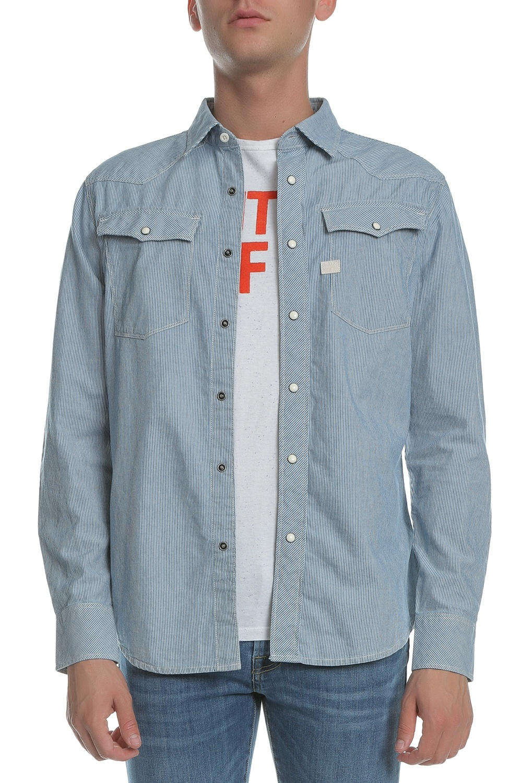 G-STAR - Ανδρικό μακρυμάνικο πουκάμισο G-Star ριγέ μπλε - λευκό ανδρικά ρούχα πουκάμισα μακρυμάνικα