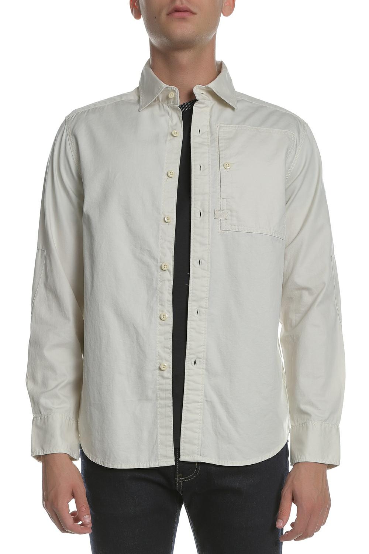 G-STAR - Ανδρικό μακρυμάνικο πουκάμισο G-Star εκρού ανδρικά ρούχα πουκάμισα μακρυμάνικα