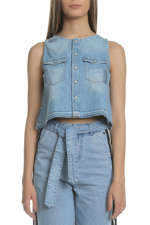 G-STAR - Γυναικείο αμάνικο τζιν πουκάμισο G-Star μπλε γυναικεία ρούχα πουκάμισα μακρυμάνικα