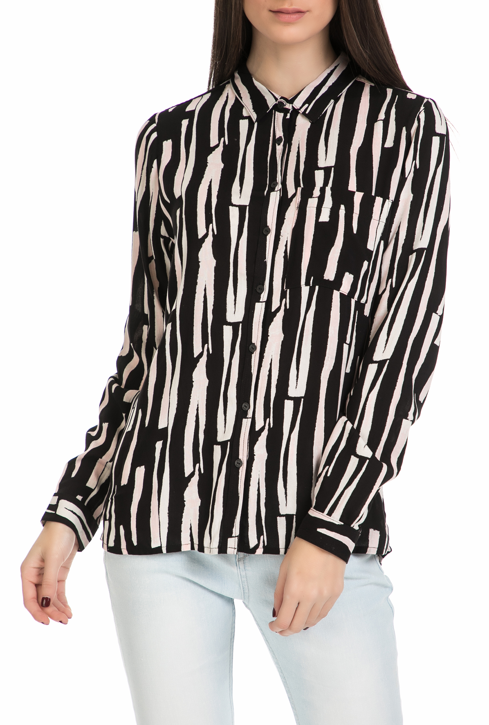 e61f00dbbbcd CollectiveOnline GARCIA JEANS - Γυναικείο μακρυμάνικο πουκάμισο Garcia Jeans  ασπρόμαυρο