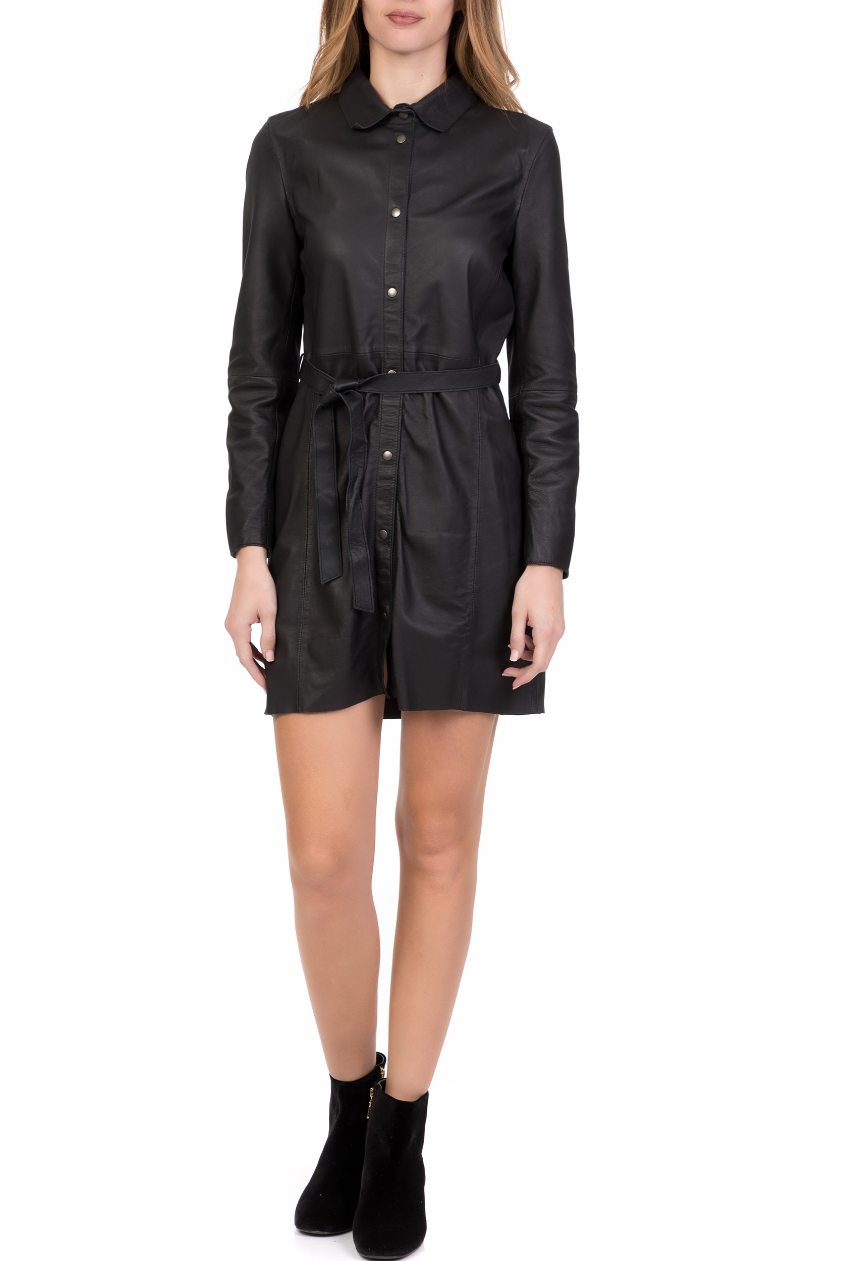 GOOSECRAFT - Γυναικείο δερμάτινο μίνι φόρεμα AZELIA GOOSECRAFT μαύρο γυναικεία ρούχα φόρεματα μίνι