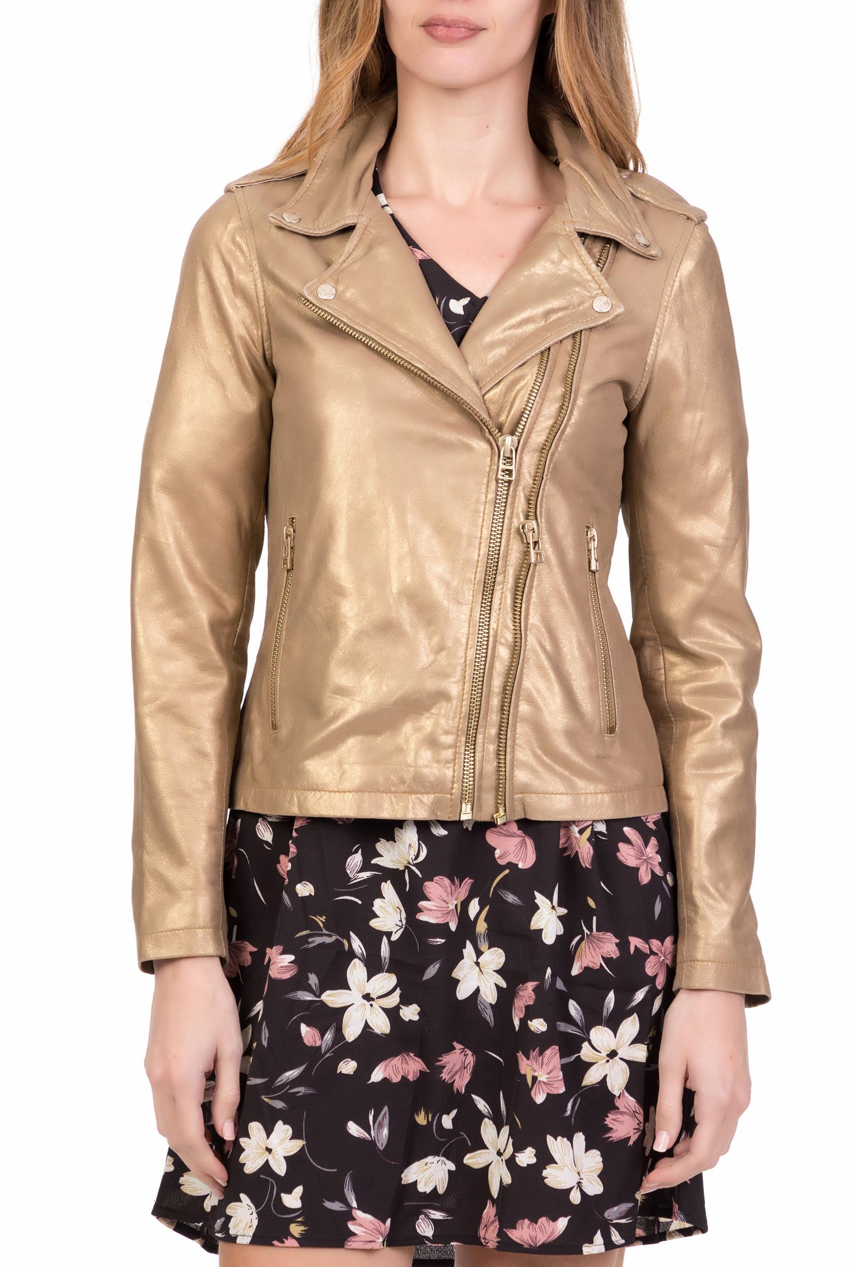 GOOSECRAFT - Γυναικείο δερμάτινο jacket BIKER513 GOOSECRAFT χρυσό