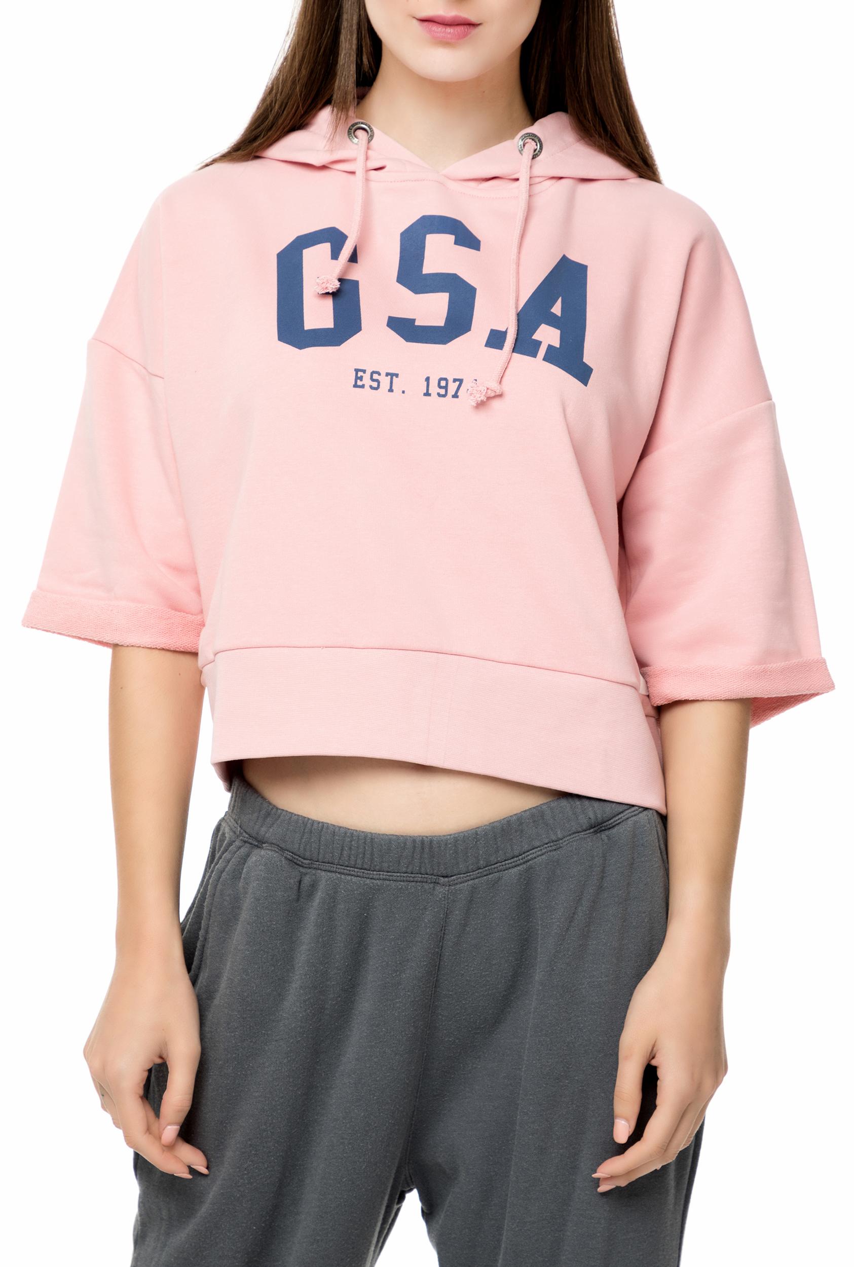 28f126531063 GSA - Γυναικεία φούτερ μπλούζα GSA GLORY CROPPED HOODIE ροζ