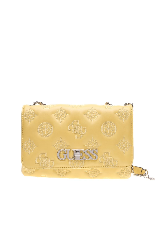 GUESS - Γυναικεία τσάντα ώμου GUESS CHIC CONVERTIBLE κίτρινη