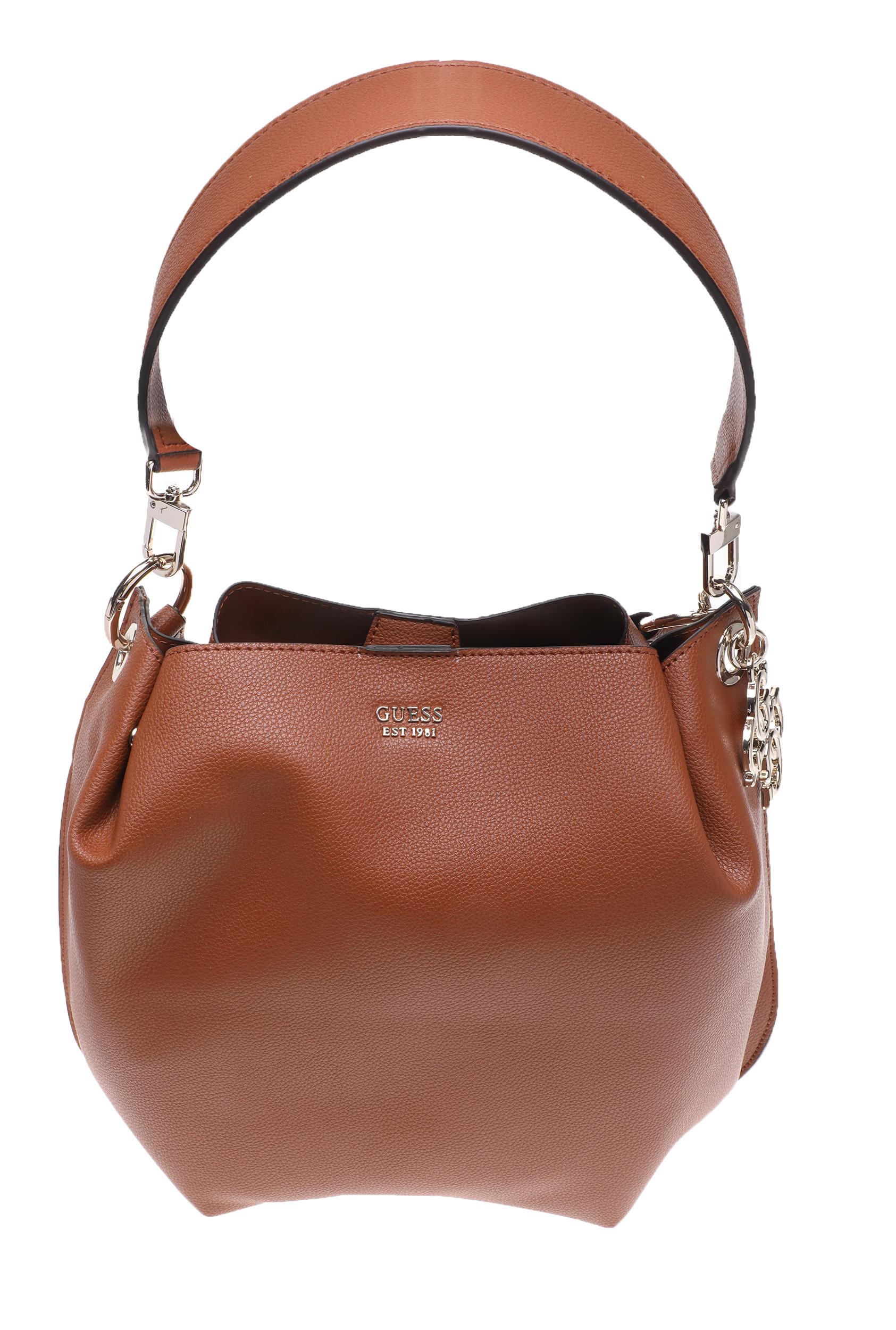 GUESS - Γυναικεία τσάντα ώμου GUESS DIGITAL HOBO καφέ γυναικεία αξεσουάρ τσάντες σακίδια χειρός