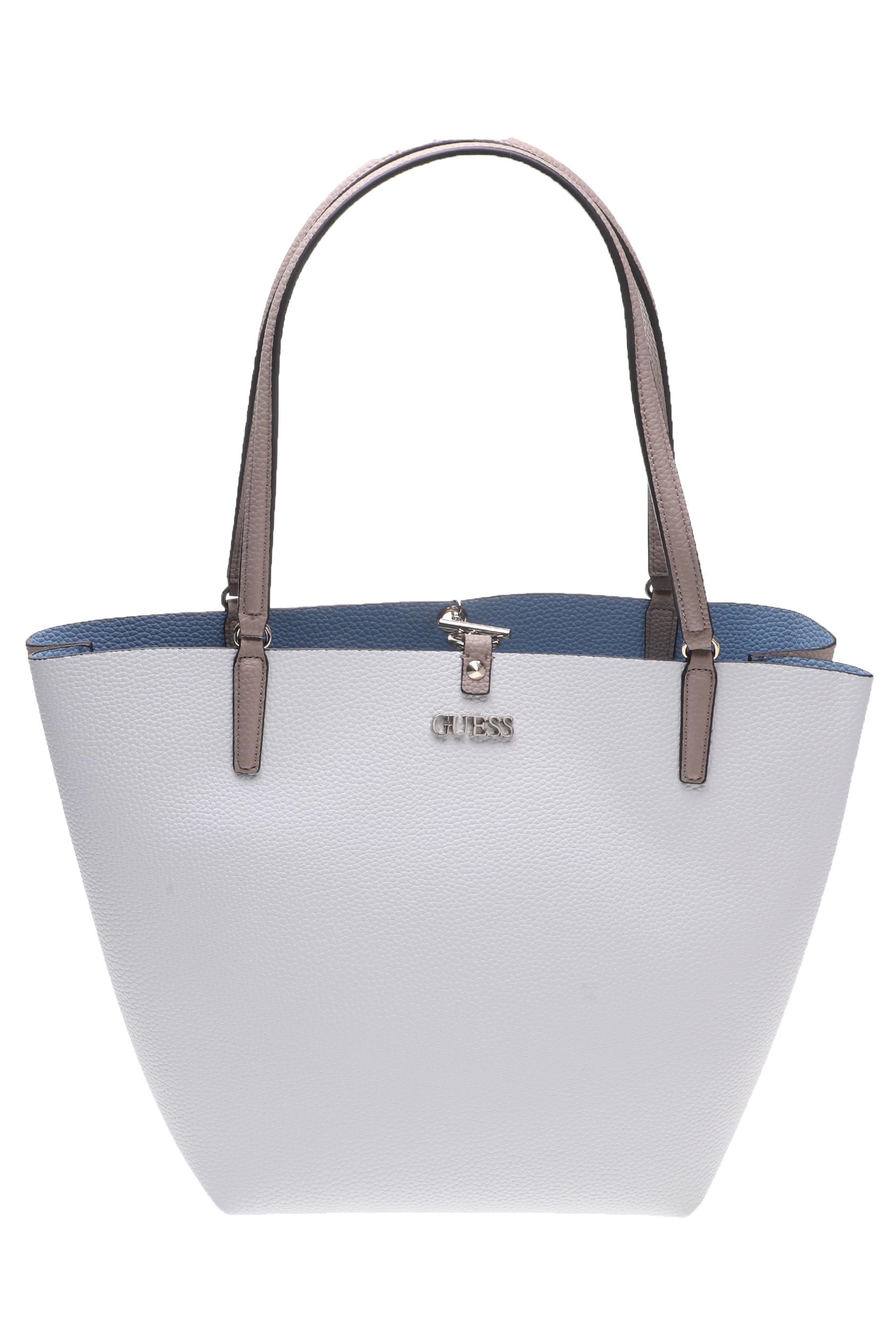 GUESS - Γυναικεία τσάντα ώμου ALBY TOGGLE TOTE λευκή γυναικεία αξεσουάρ τσάντες σακίδια χειρός
