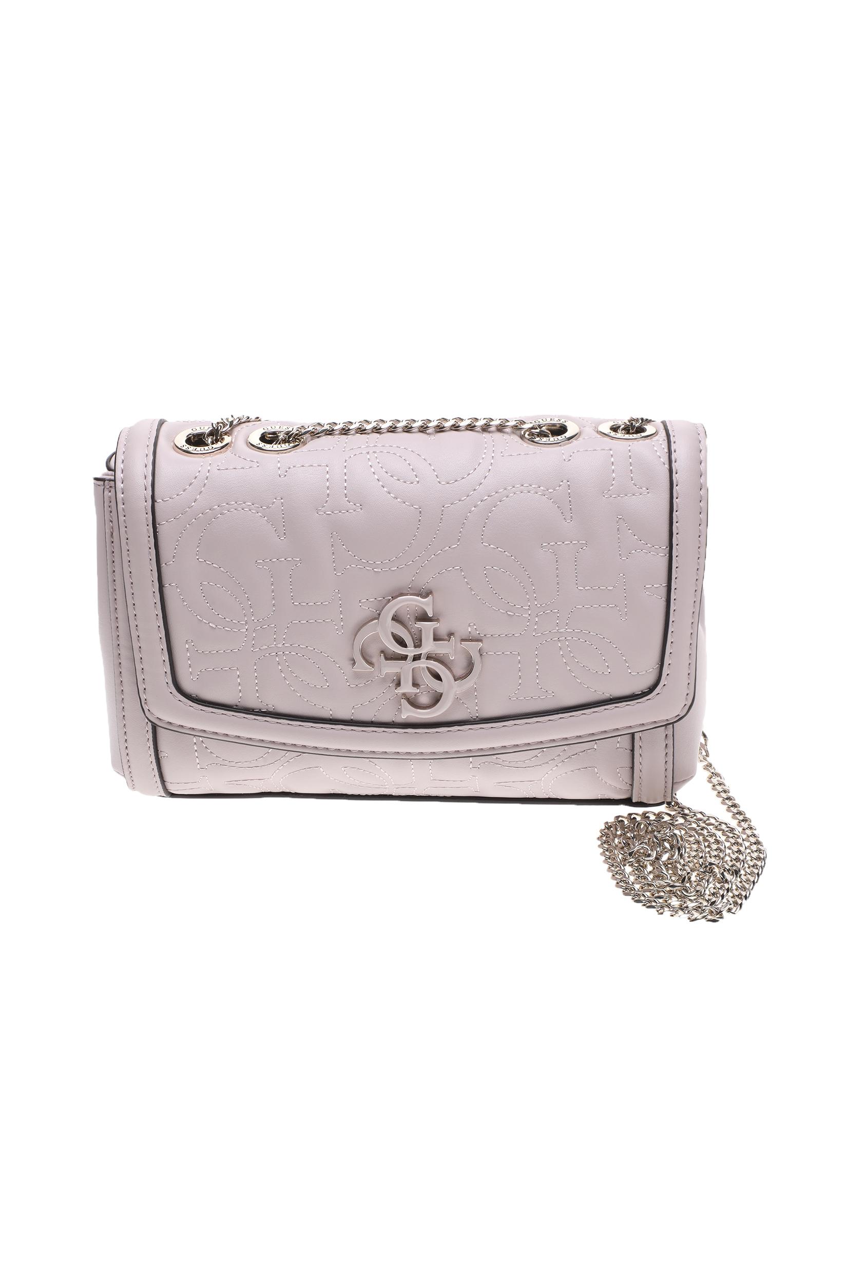 GUESS - Γυναικεία τσάντα ώμου GUESS NEW WAVE MINI μπεζ γυναικεία αξεσουάρ τσάντες σακίδια ωμου