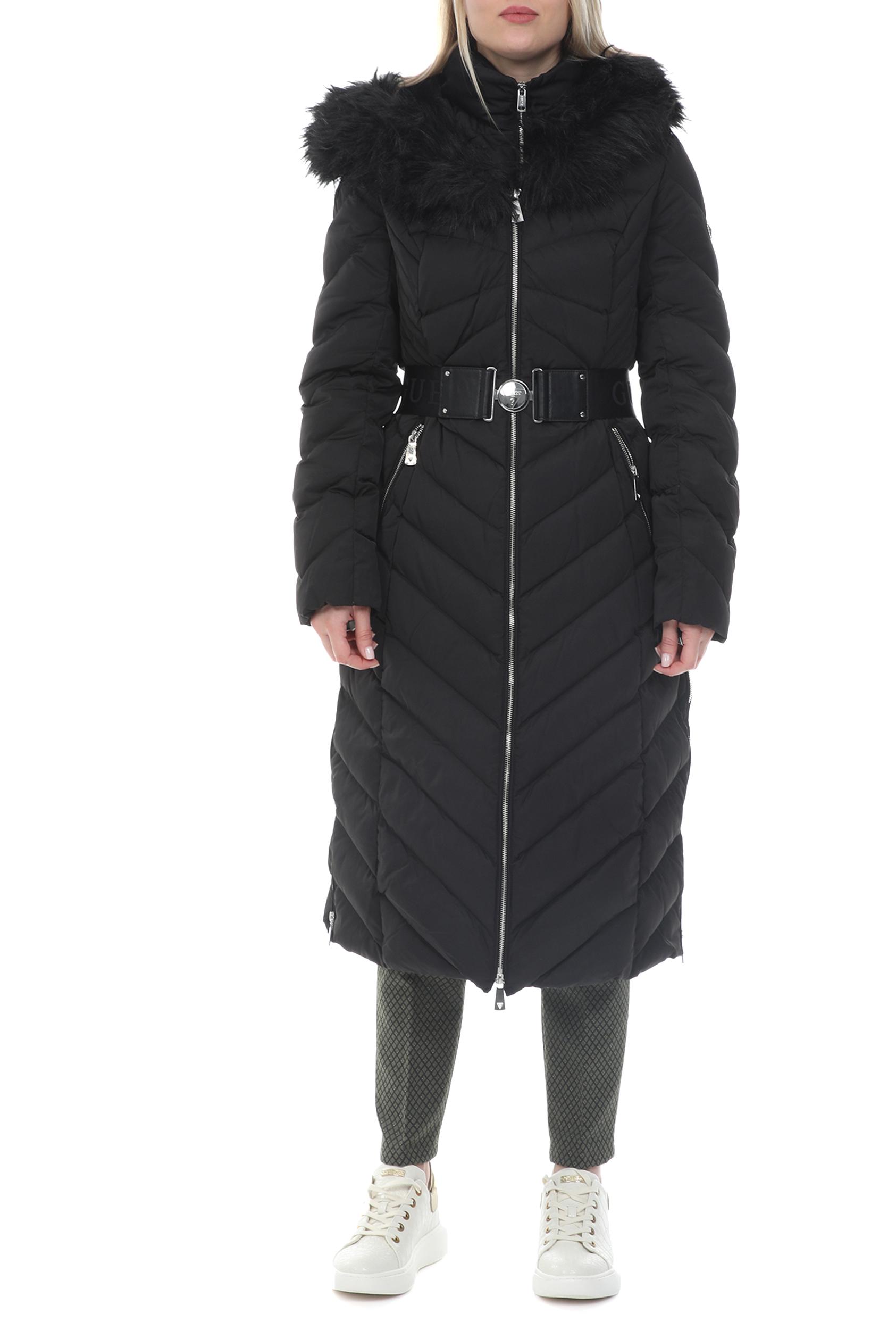 GUESS - Γυναικείο μακρύ padded μπουφάν GUESS SOFIA LONG DOWN JACK - TECH μαύρο