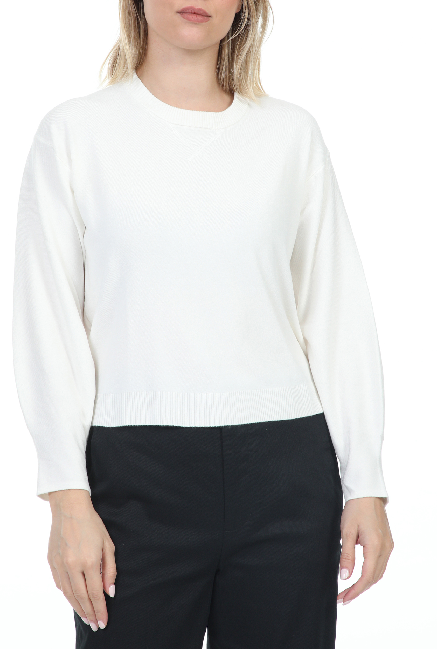 GUESS - Γυναικεία μπλούζα GUESS FILOMENA LS SWTR - FULL NEEDL λευκή