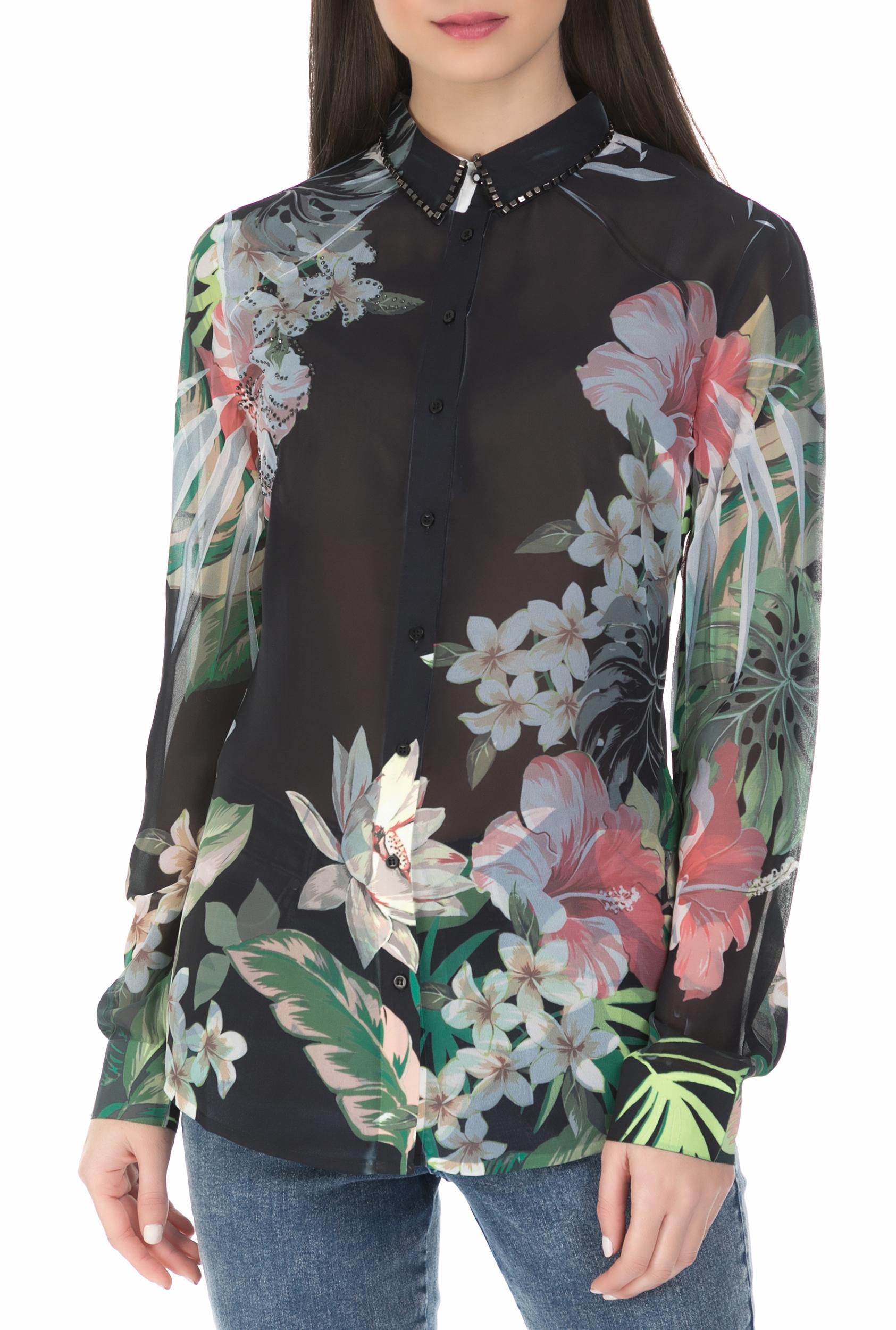 8239d3ebb45d CollectiveOnline GUESS - Γυανικείο μακρυμάνικο φλοράλ πουκάμισο Guess μαύρο