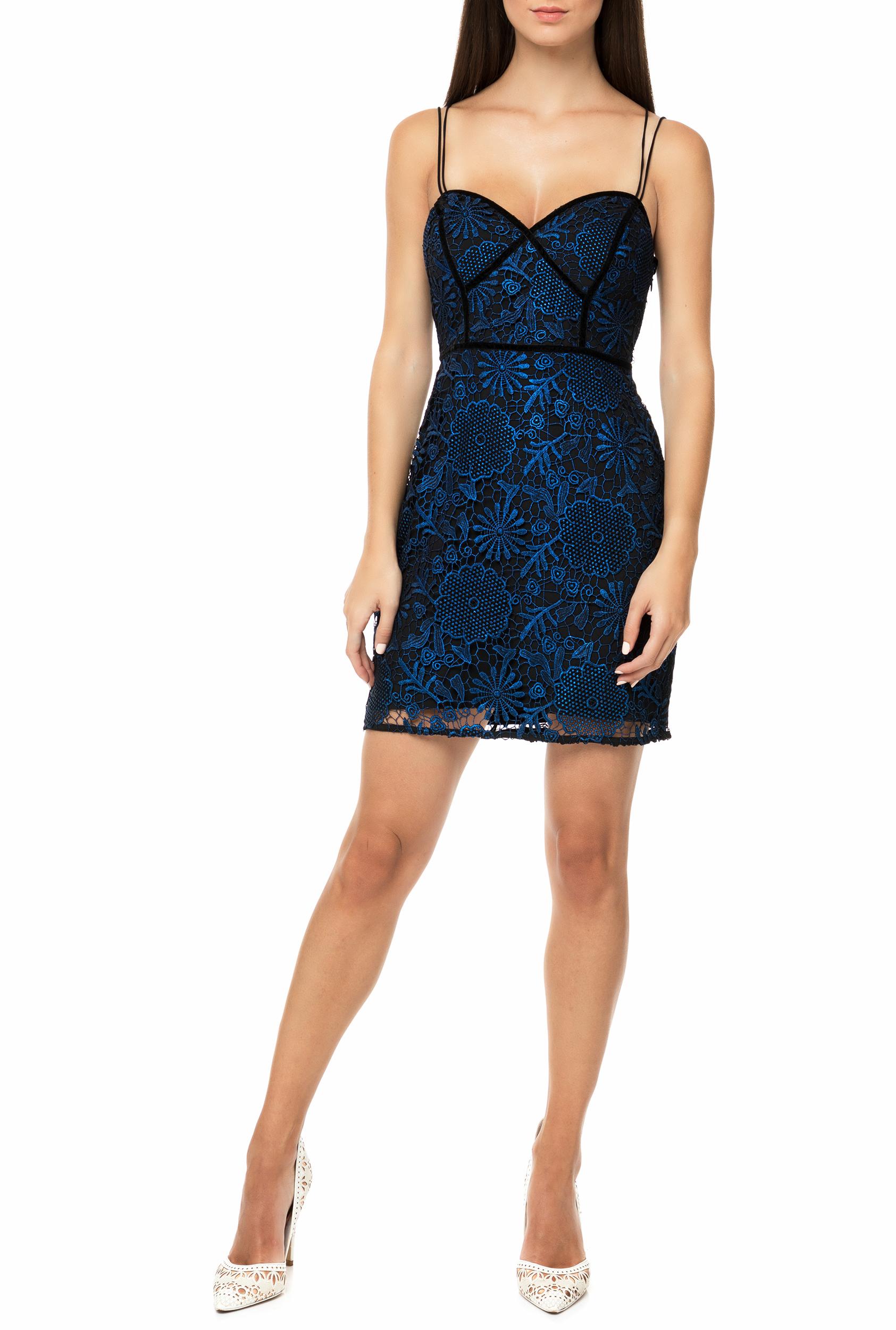 e0b36ea7a0f9 GUESS - Γυναικείο μίνι φόρεμα με δαντέλα GUESS ADINA μαύρο - μπλε