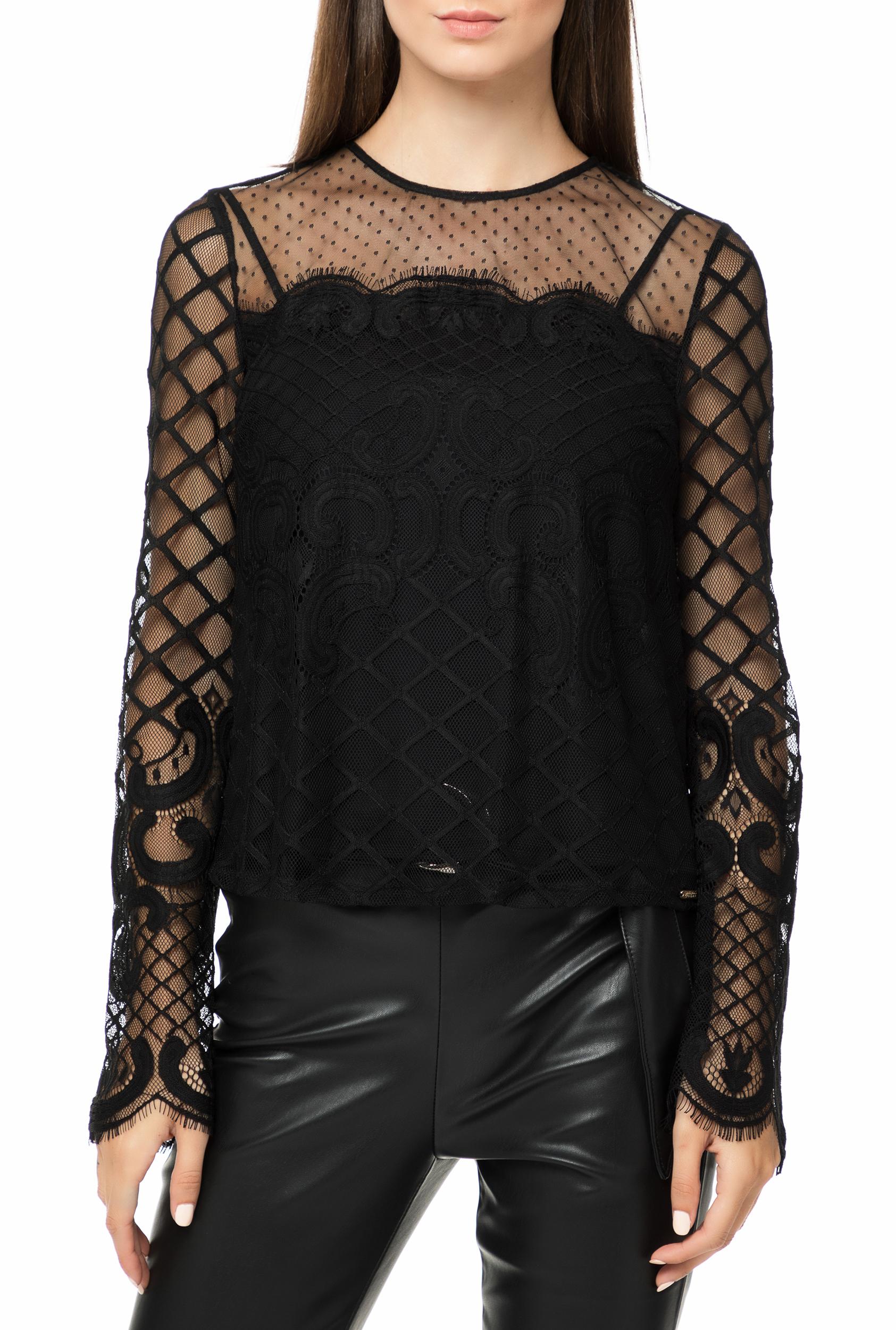 901b918c567d GUESS - Γυναικεία μακρυμάνικη μπλούζα με δαντέλα GUESS HONORIA μαύρη