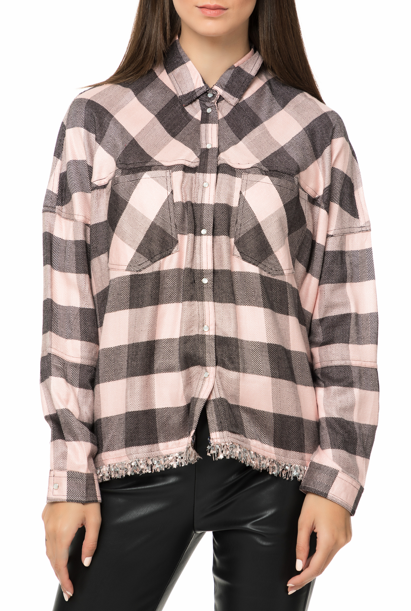 5956420fa8 GUESS - Γυναικείο μακρυμάνικο καρό πουκάμισο GUESS CLOTHILDE ροζ-μαύρο