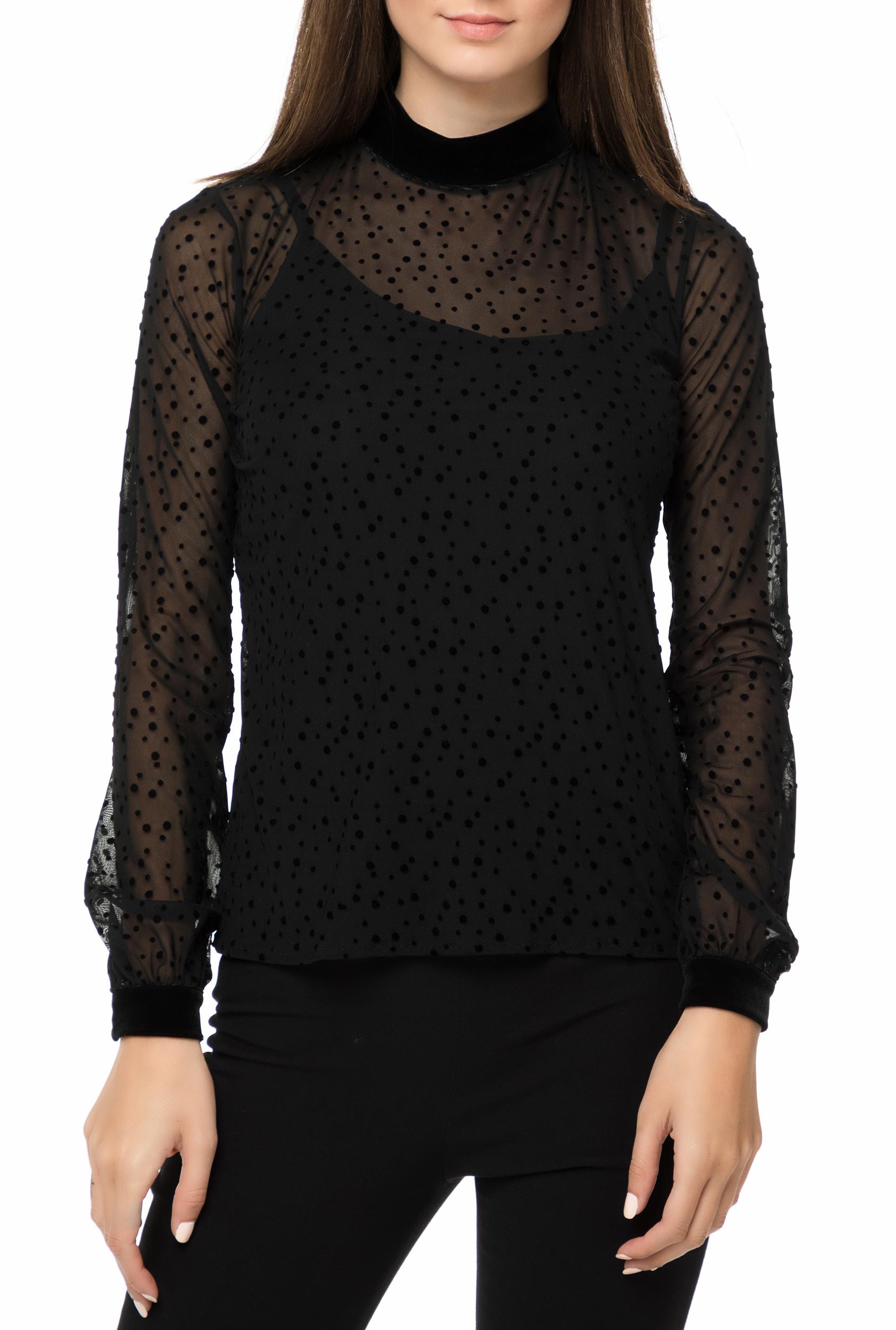 e9dd17c094db GUESS - Γυναικεία μακρυμάνικη μπλούζα με ημιδιαφάνεια GUESS AIDA μαύρη