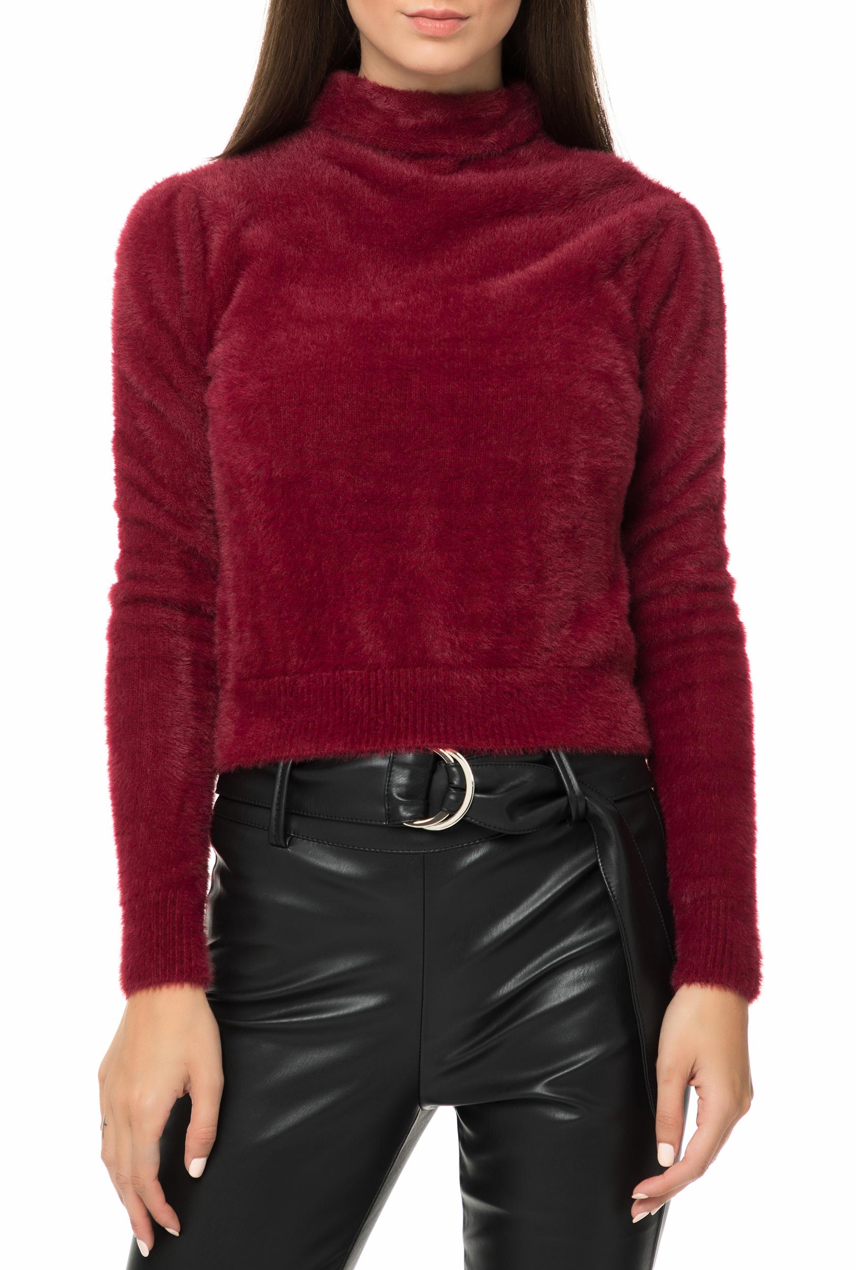 ab6921be3e32 GUESS - Γυναικείο πουλόβερ με ζιβάγκο GUESS KRISTEEN μπορντό