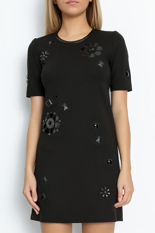 JUICY COUTURE - Μίνι φόρεμα JUICY PONTE EMBELLISHED DRESS μαύρο γυναικεία ρούχα φόρεματα μίνι
