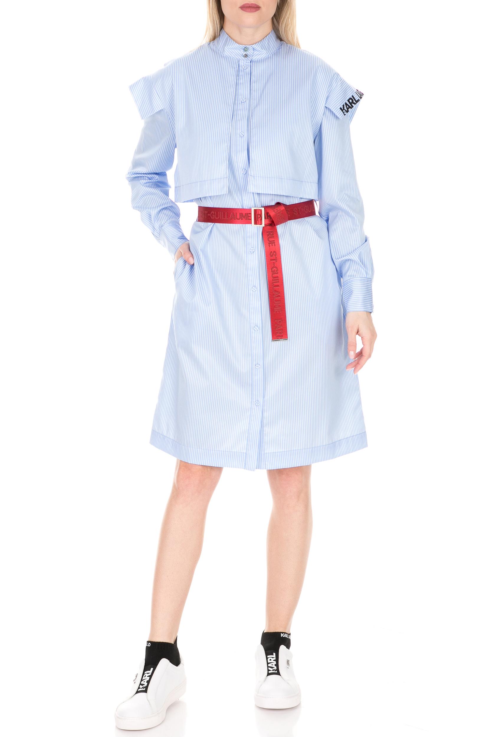 KARL LAGERFELD - Γυναικείο φόρεμα Stripe Poplin Shirt Dress γαλάζιο-λευκό γυναικεία ρούχα φόρεματα μίνι
