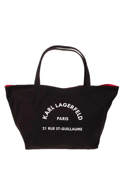 KARL LAGERFELD - Γυναικεία τσάντα ώμου K/Rue St Guillaume Canvas Tote μαύρη γυναικεία αξεσουάρ τσάντες σακίδια ωμου