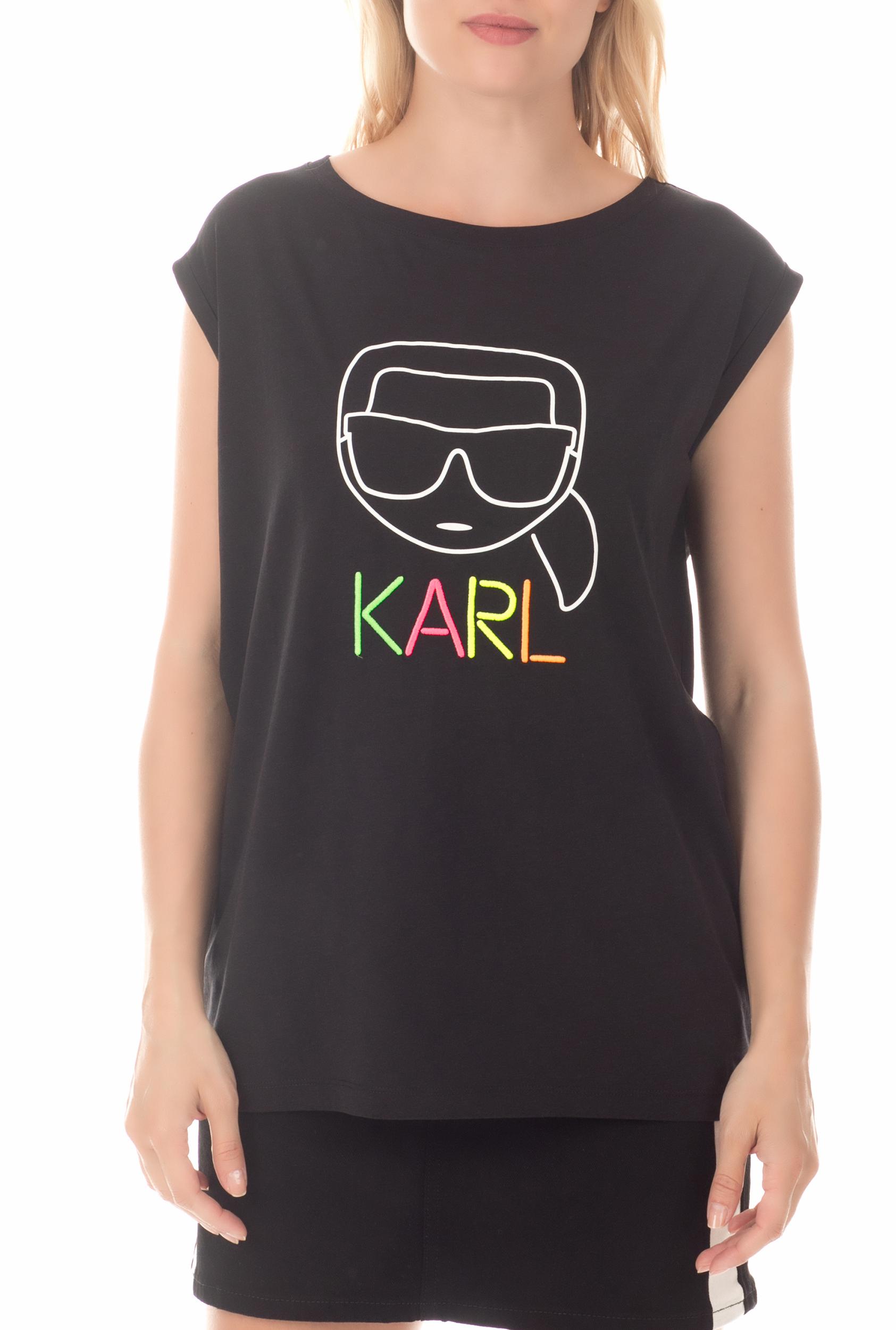 KARL LAGERFELD - Γυναικεία αμάνικη μπλούζα Neon Lights KARL LAGERFELD μαύρη