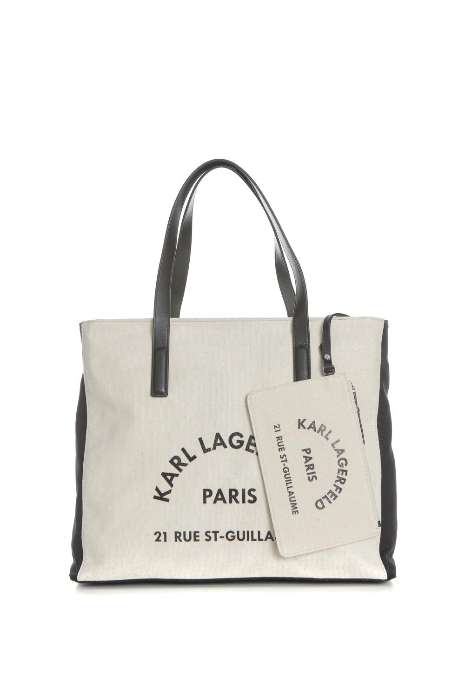 KARL LAGERFELD - Γυναικεία τσάντα KARL LAGERFELD Rue Lagerfeld Cnvs μπεζ-μαύρη