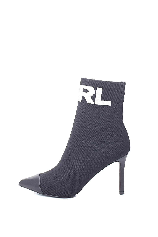 KARL LAGERFELD – Γυναικεία μποτάκια KARL LAGERFELD Hi Knit Collar Ankle μαύρα