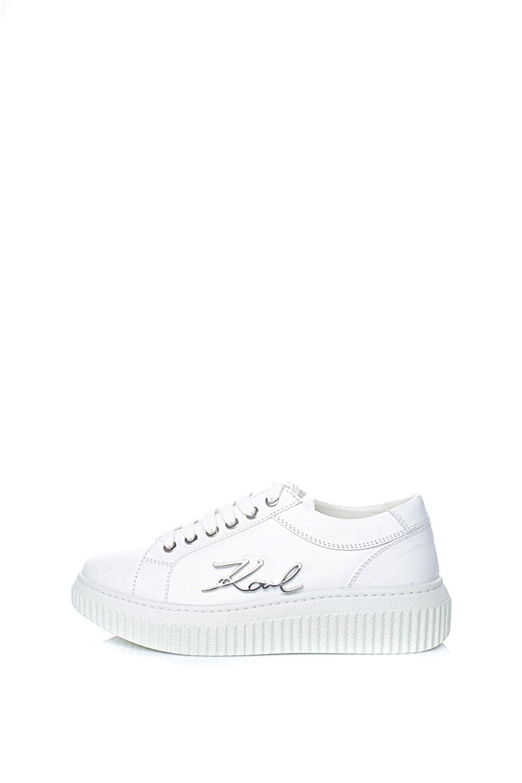 KARL LAGERFELD – Γυναικεία δερμάτινα sneakers KARL LAGERFELD KREEPER λευκά