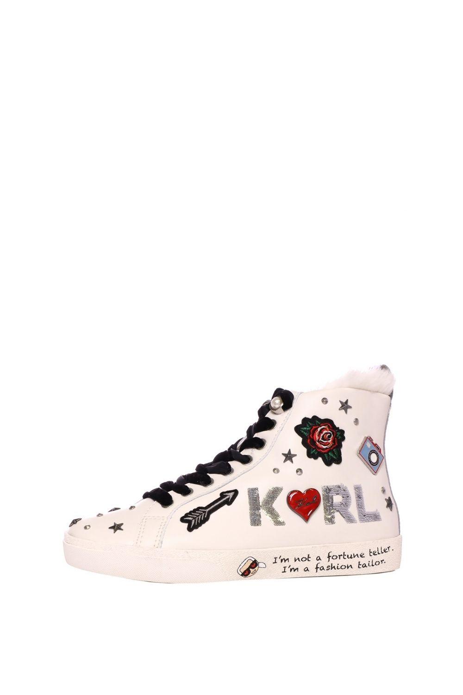 KARL LAGERFELD – Γυναικεία ψηλά sneakers KARL LAGERFELD KL60155 Jewel Badge λευκά