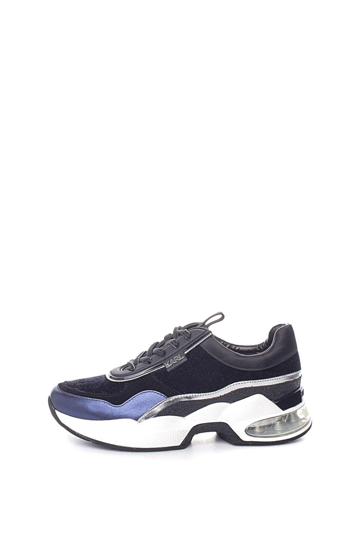 KARL LAGERFELD – Γυναικεία sneakers KARL LAGERFELD LAZARE VELVET LACE μπλε