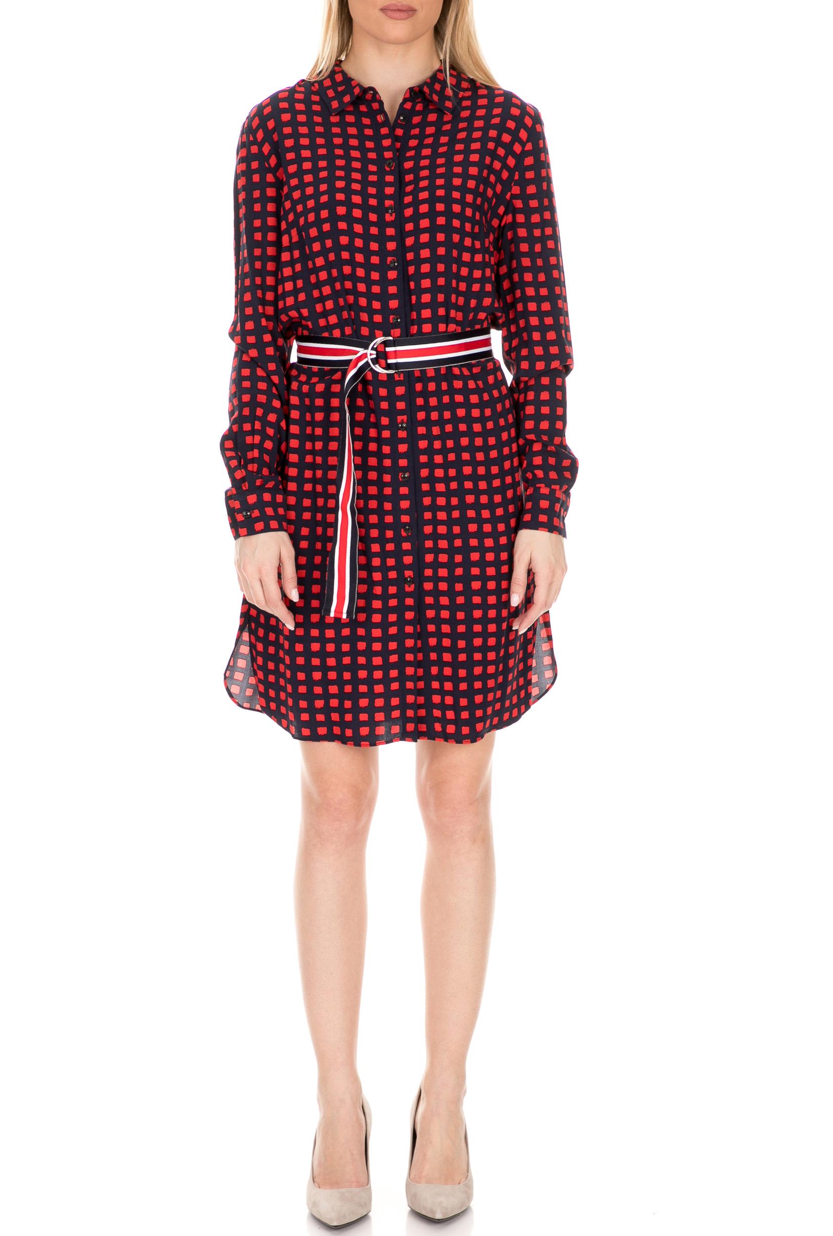 KOCCA - Γυναικείο φόρεμα KOCCA LIQUOR κόκκινο-μπλε γυναικεία ρούχα φόρεματα μίνι