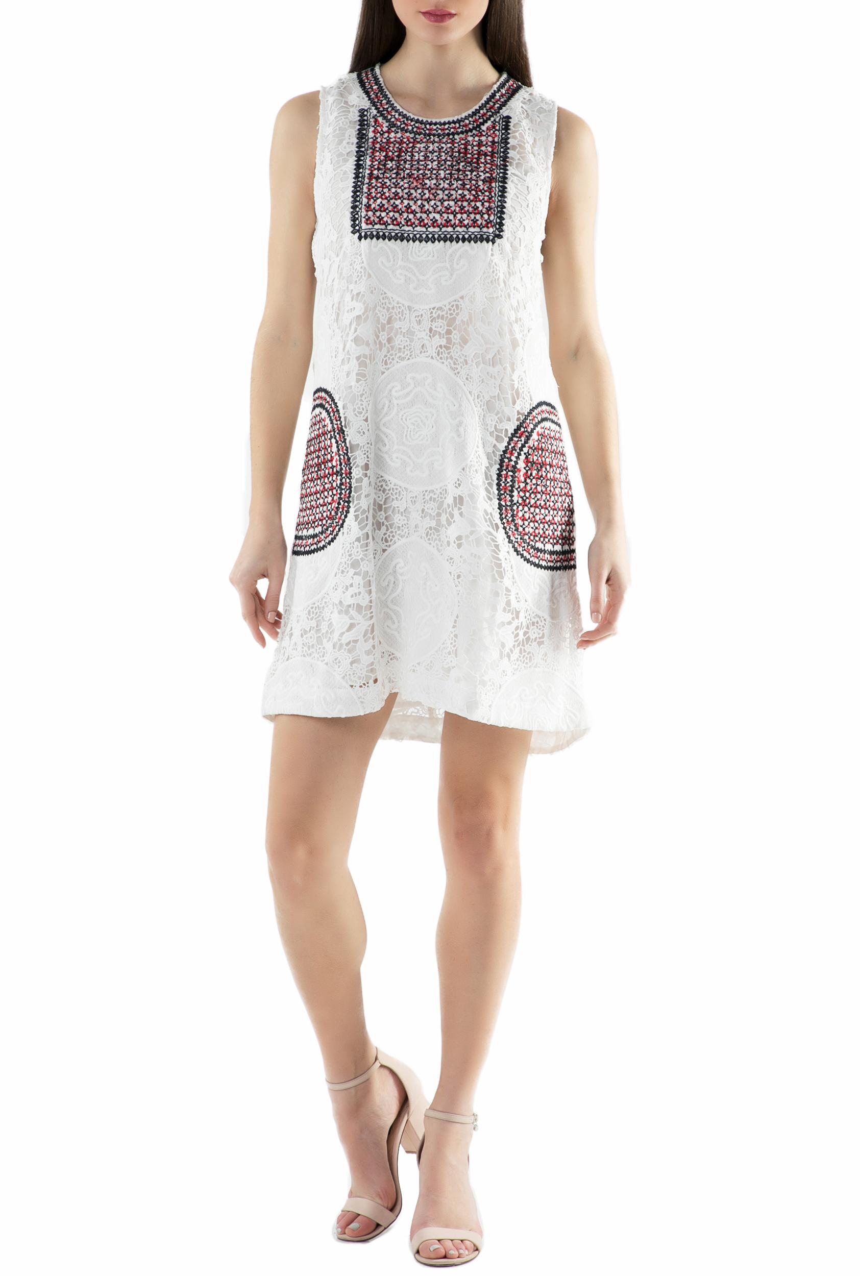 MOLLY BRACKEN - Γυναικείο μίνι φόρεμα Molly Bracken λευκό με δαντέλα γυναικεία ρούχα φόρεματα μίνι