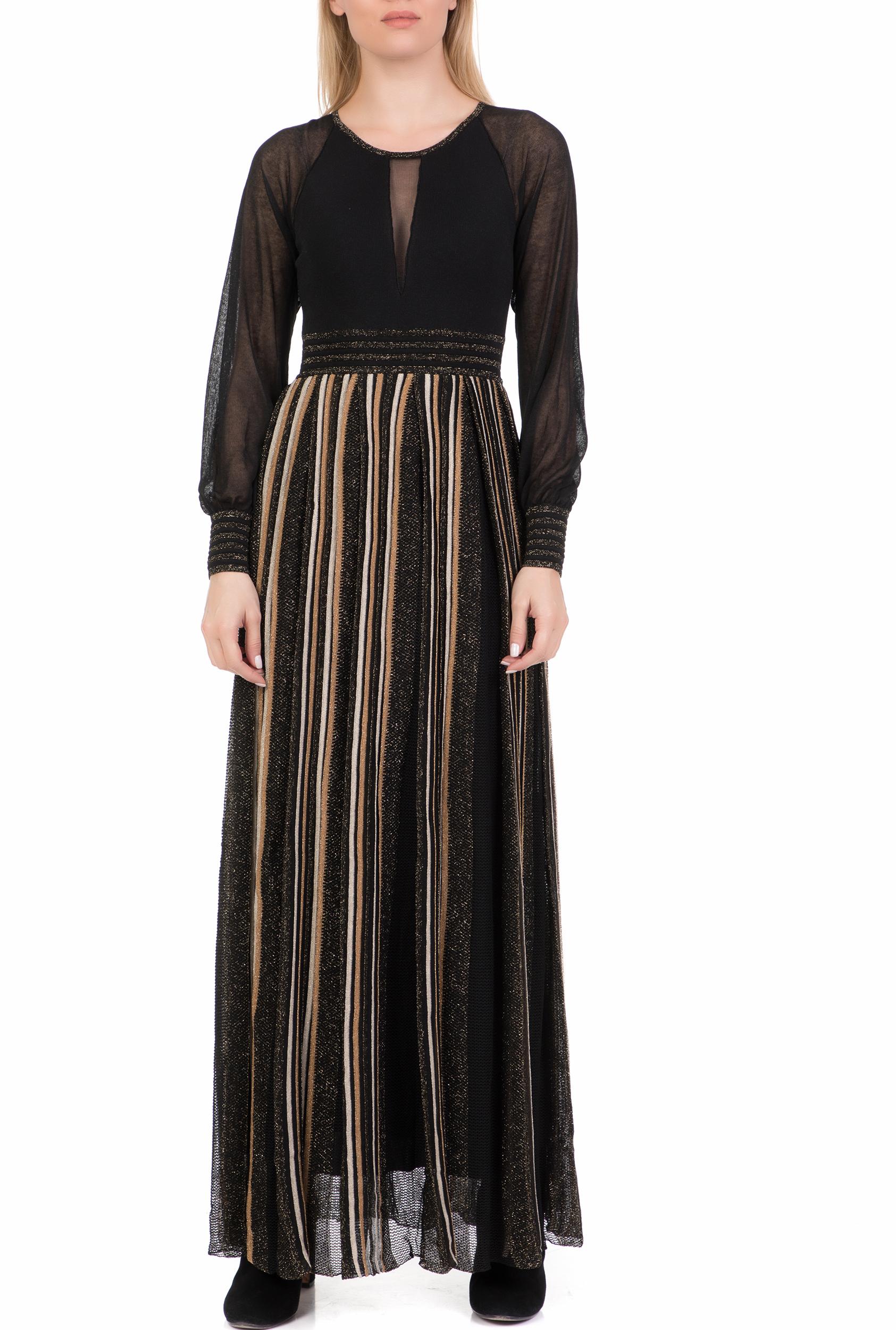 NENETTE - Γυναικείο μάξι φόρεμα NENETTE μαύρο-χρυσό γυναικεία ρούχα φόρεματα μίνι