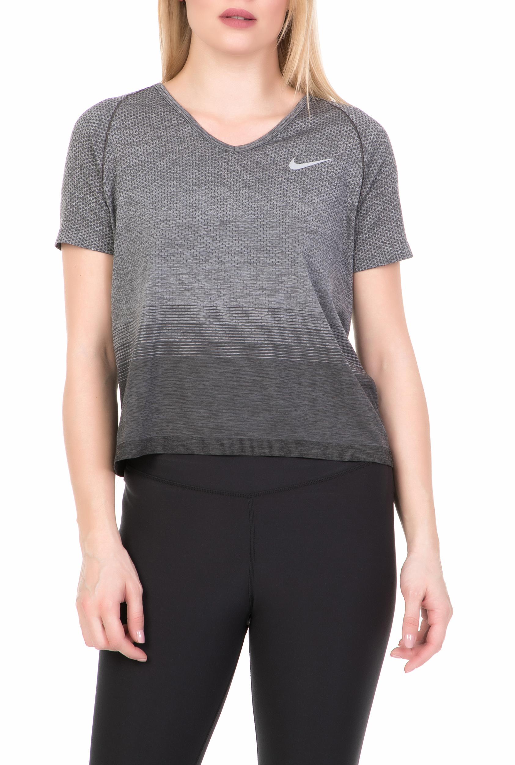 NIKE - Γυναικεία κοντομάνικη μπλούζα NIKE DF KNIT γκρι