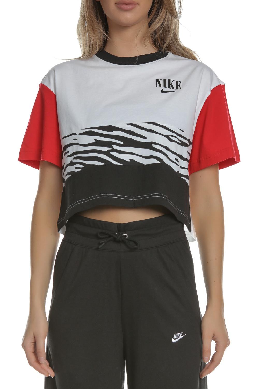 NIKE - Γυναικείο cropped top NIKE NSW ESSNTL TOP SS AOP λευκό μαύρο