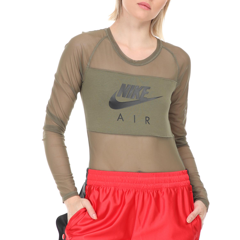 NIKE - Γυναικείο κορμάκι NIKE NSW AIR BODYSUIT LS MESH χακί