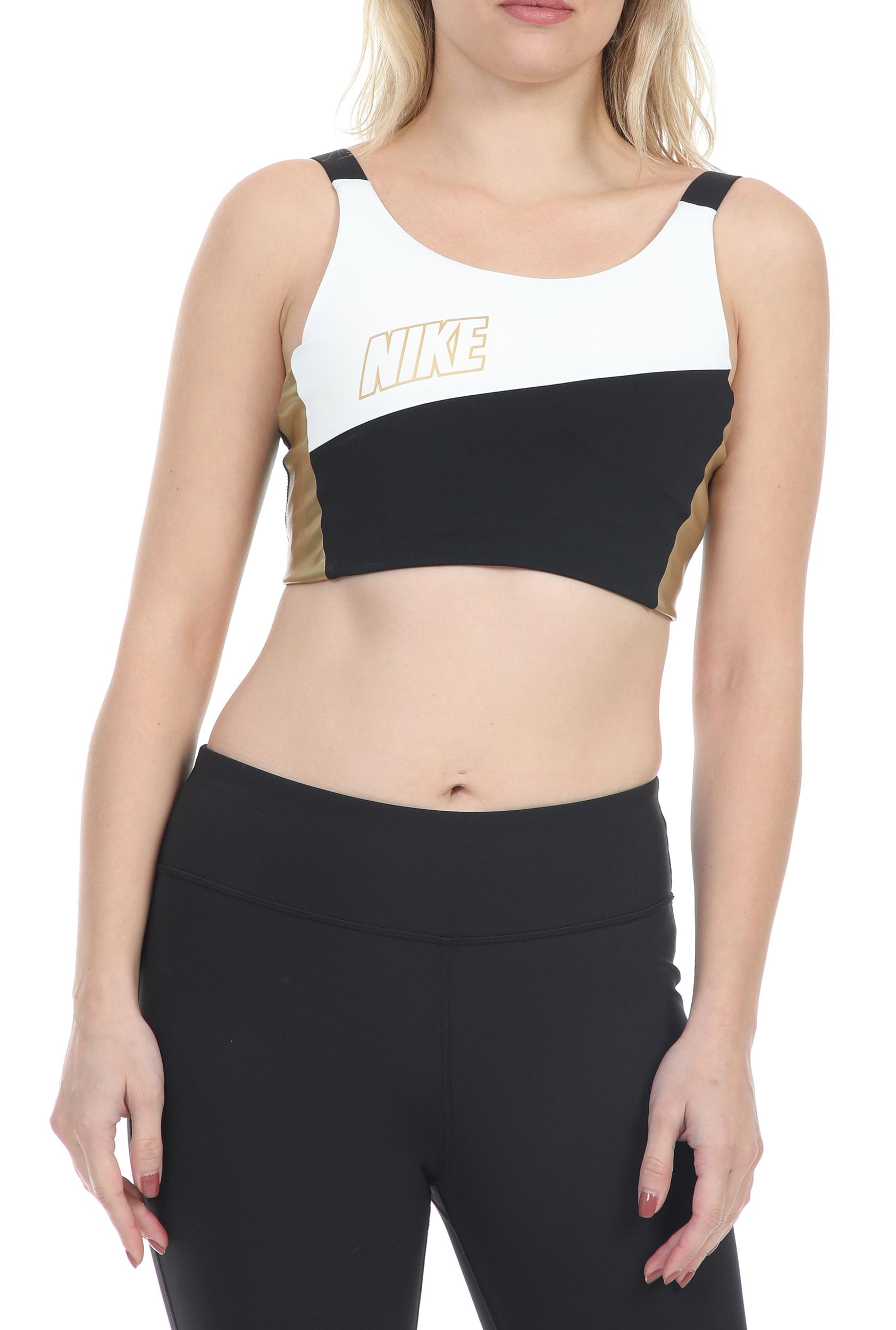 NIKE - Γυναικείο μπουστάκι NIKE SWOOSH MTLC LOGO BRA PAD λευκό-μαύρο