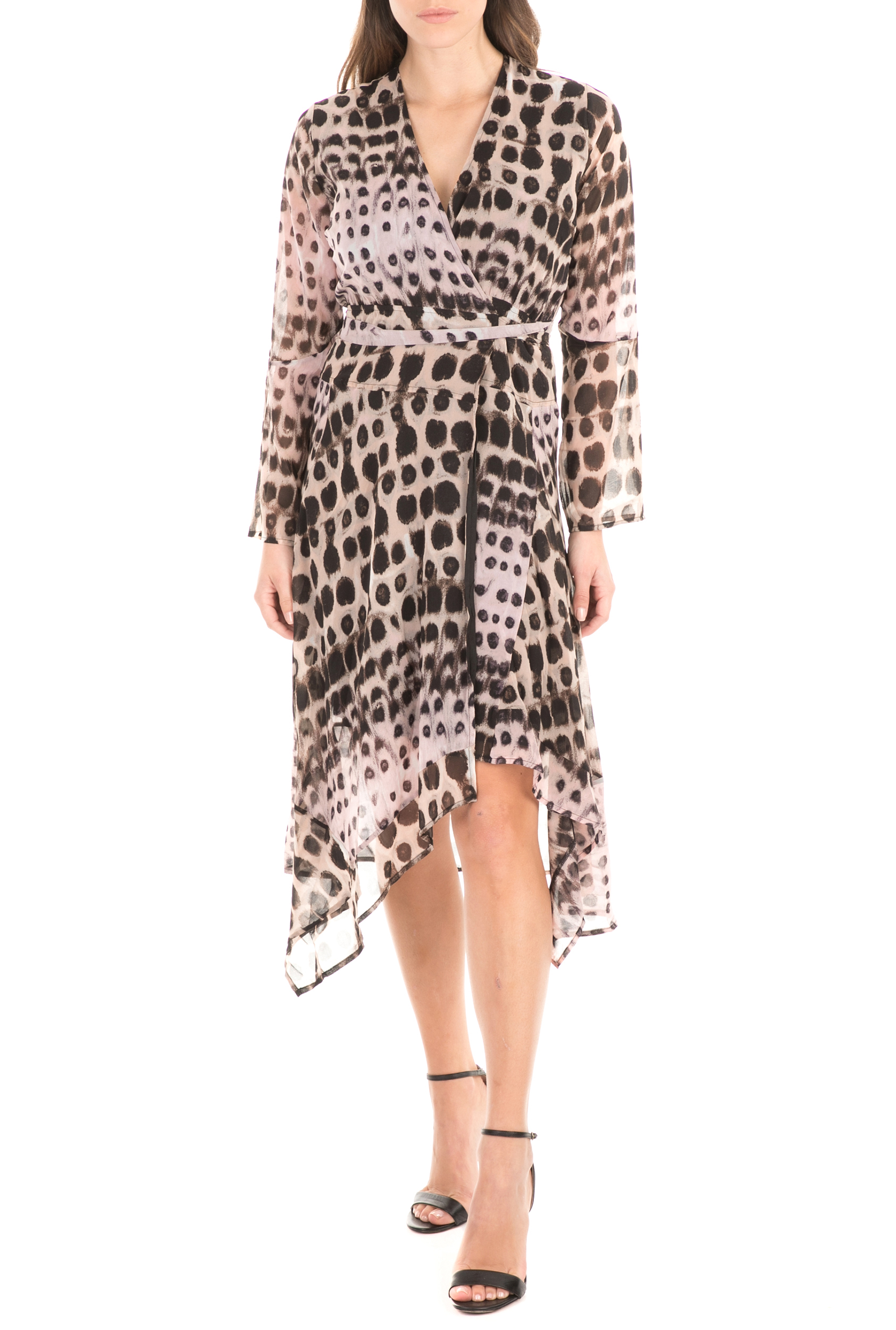 RELIGION - Γυναικείο φόρεμα RELIGION μπεζ μαύρο γυναικεία ρούχα φόρεματα μίνι