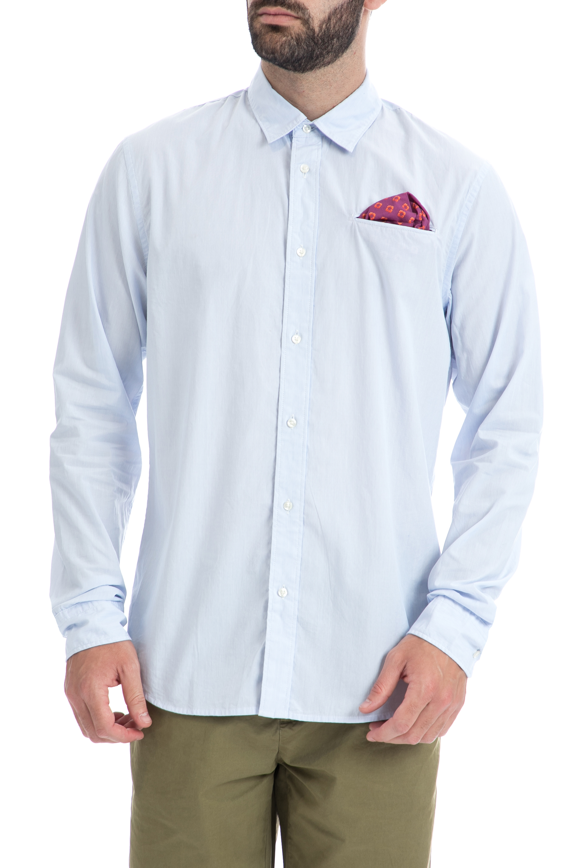SCOTCH & SODA - Ανδρικό πουκάμισο Scotch & Soda μπλε ανδρικά ρούχα πουκάμισα μακρυμάνικα